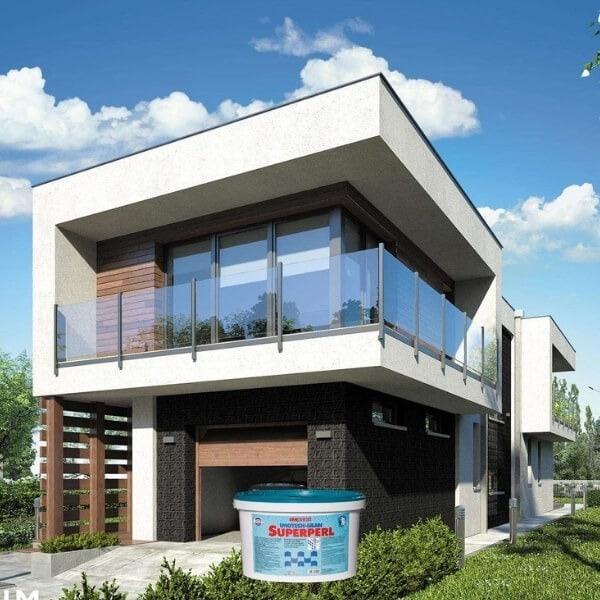 Balti silikoniniai dažai namo fasadui Imparat