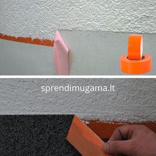 Oranžinė labai lipni juosta tinkavimui dažymui glaistymui kaina